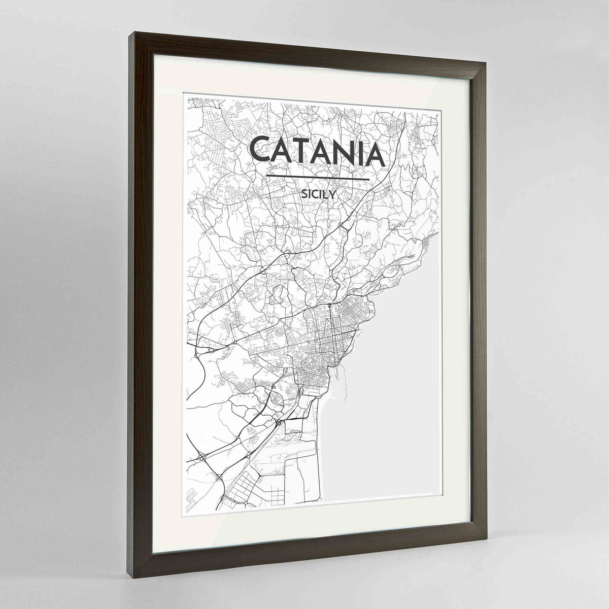 "Framed Catania Map Art Print 24x36"" Contemporary Walnut frame Point Two Design Group"