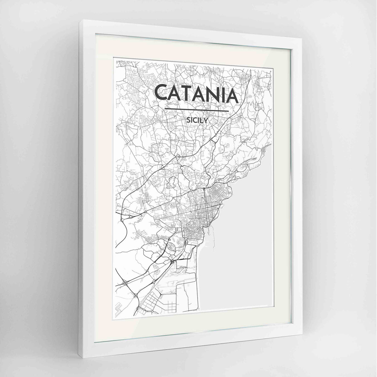 "Framed Catania Map Art Print 24x36"" Contemporary White frame Point Two Design Group"