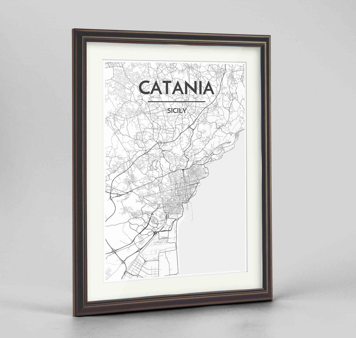 "Framed Catania Map Art Print 24x36"" Traditional Walnut frame Point Two Design Group"