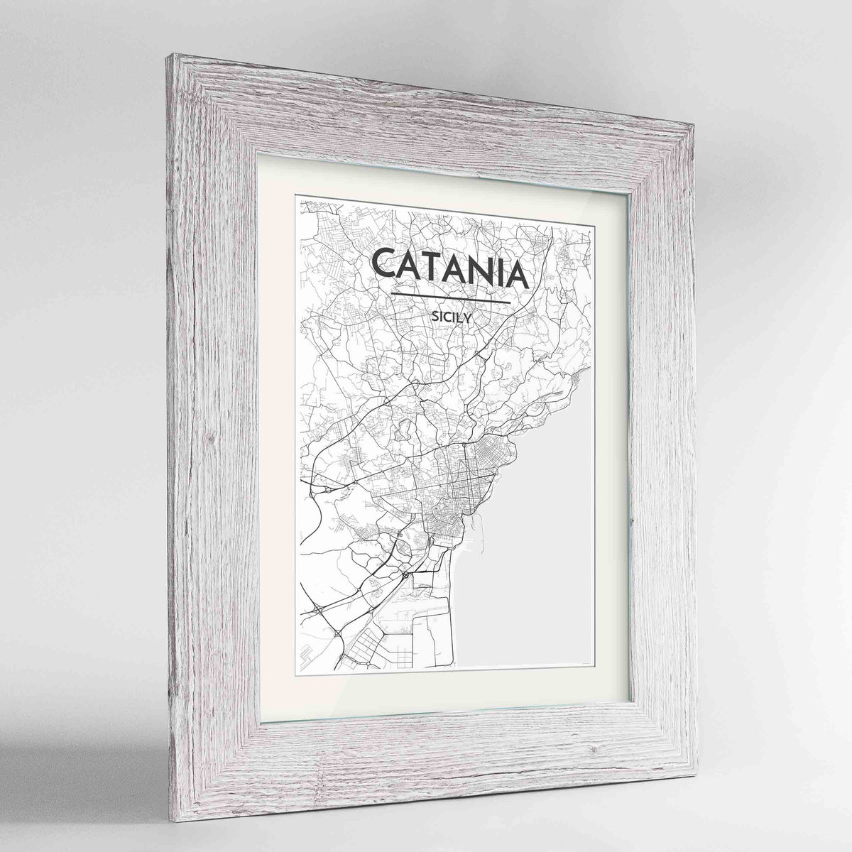 "Framed Catania Map Art Print 24x36"" Western White frame Point Two Design Group"