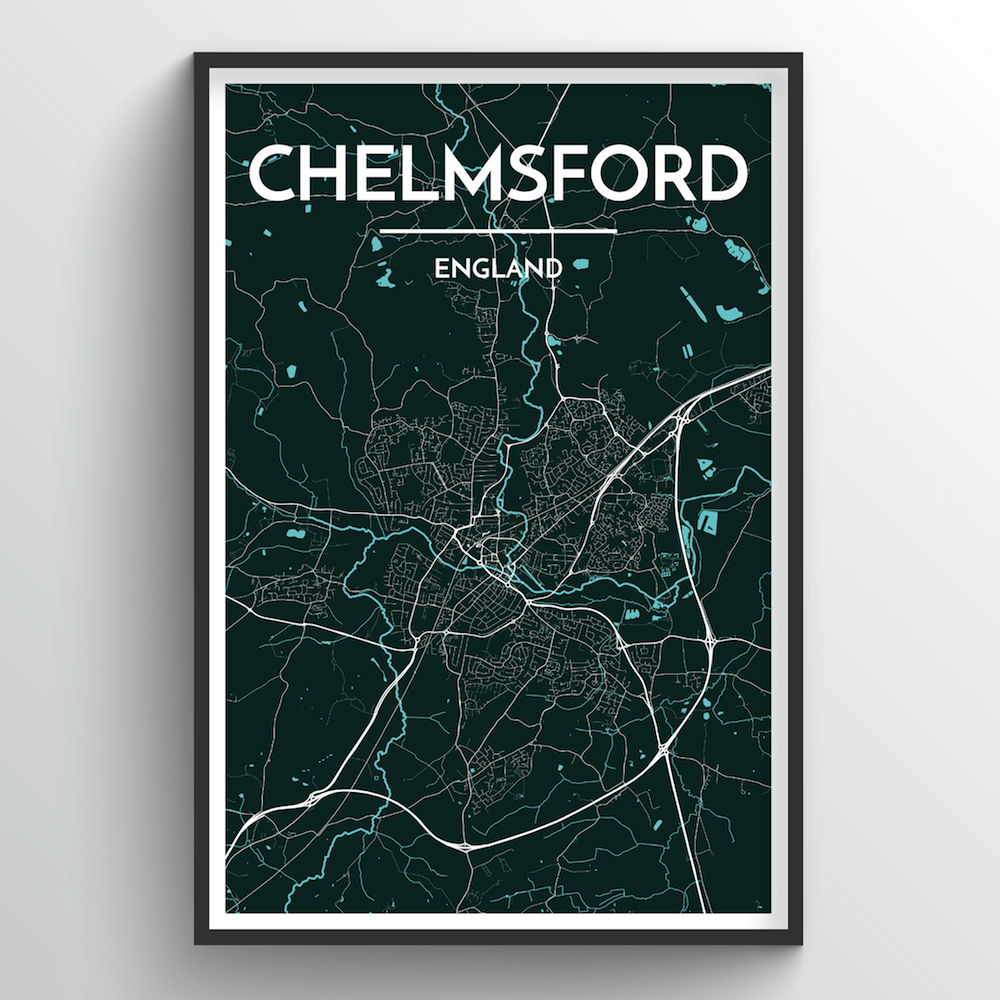 Chelmsford Map Art Print - Point Two Design