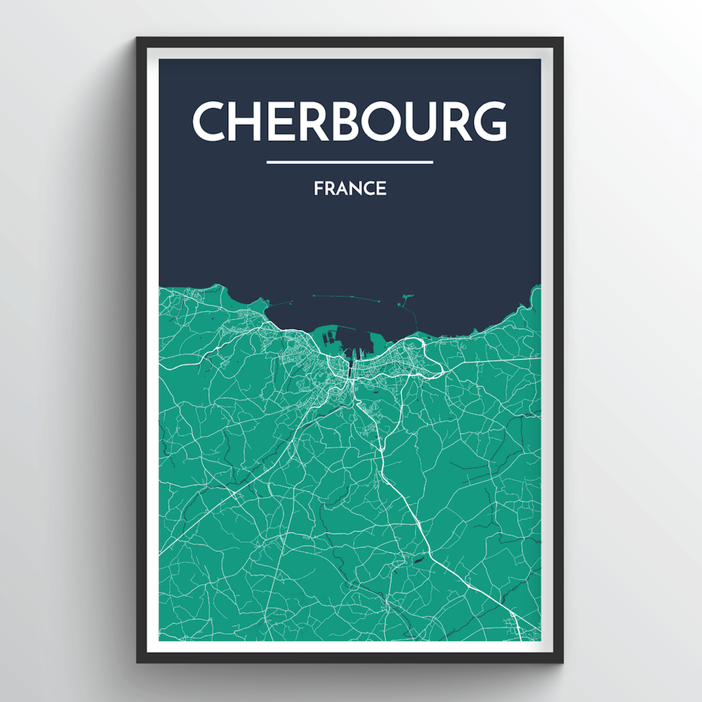 Cherbourg Map Art Print - Point Two Design