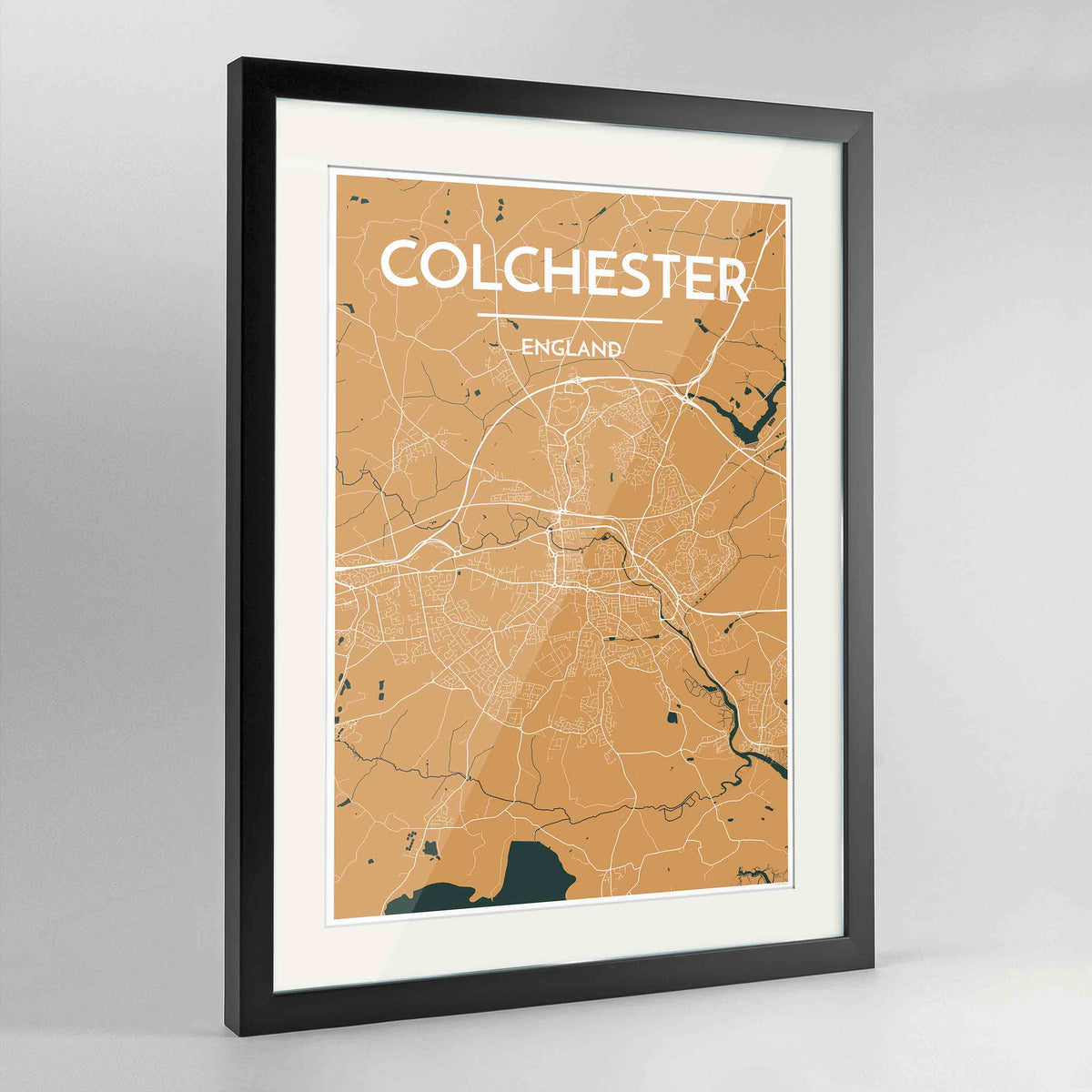 "Framed Colchester Map Art Print 24x36"" Contemporary Black frame Point Two Design Group"