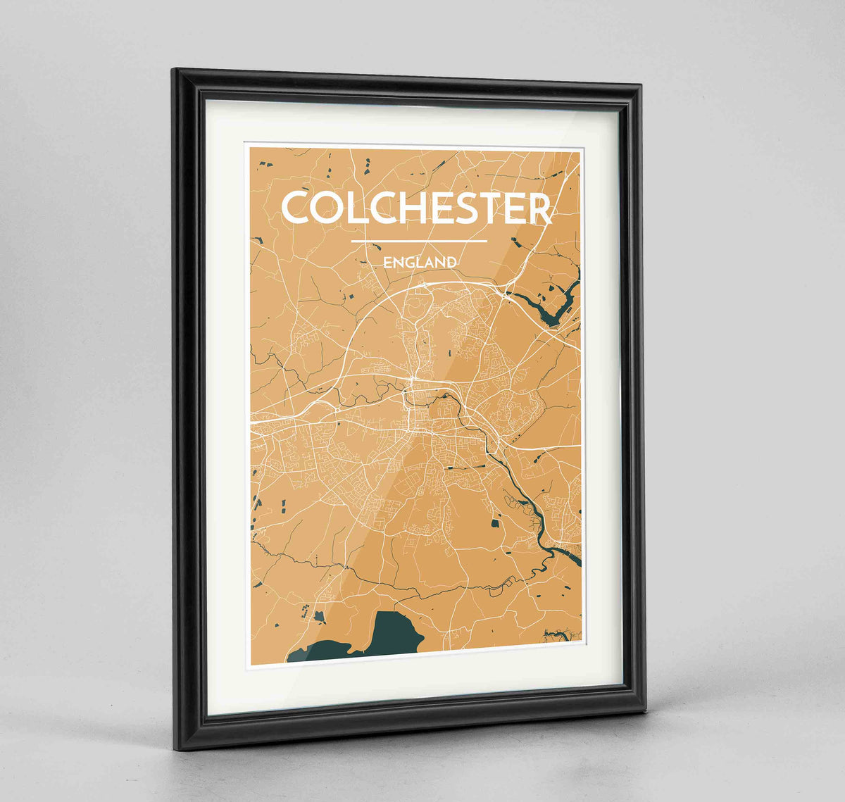 "Framed Colchester Map Art Print 24x36"" Traditional Black frame Point Two Design Group"