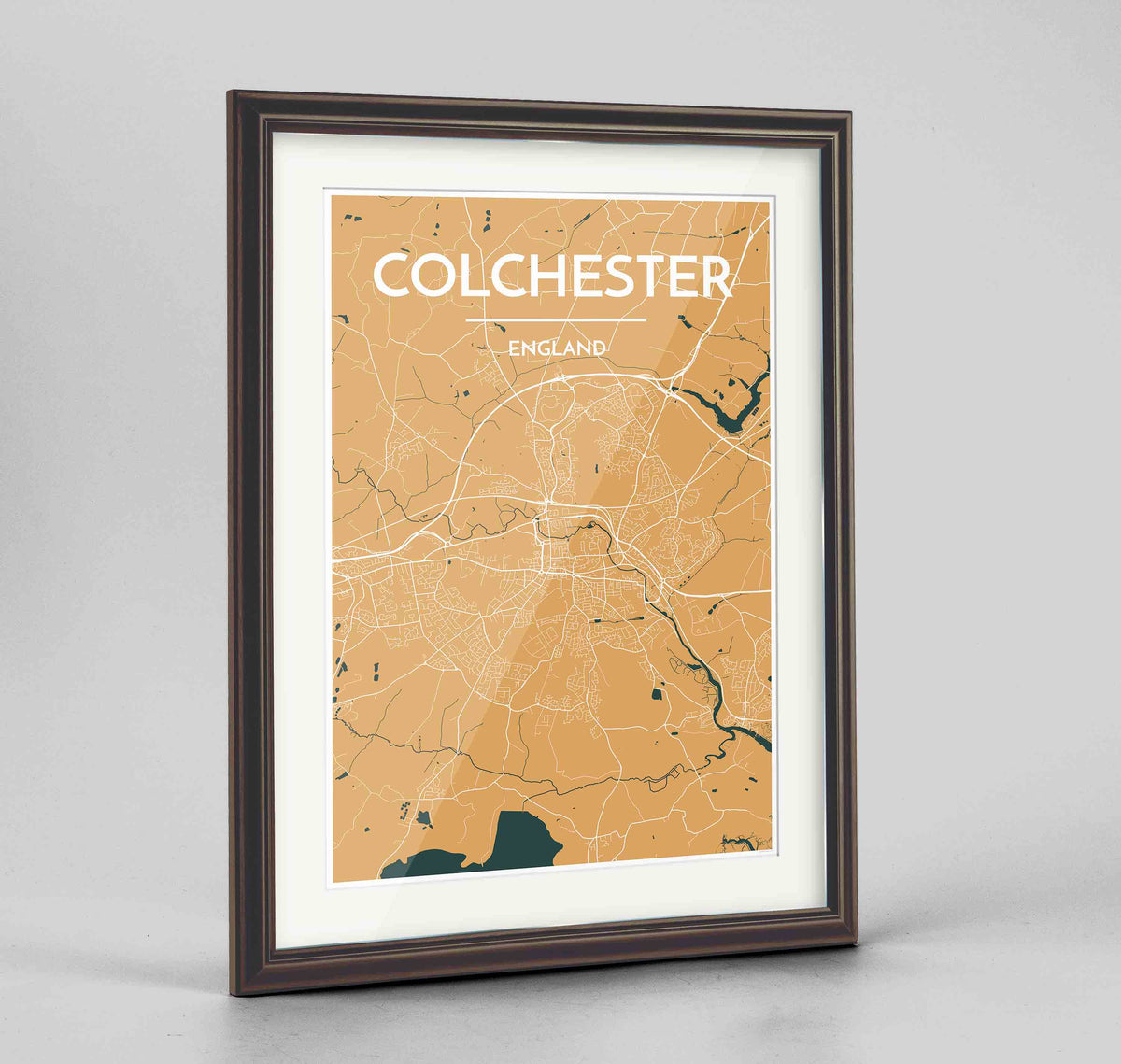 "Framed Colchester Map Art Print 24x36"" Traditional Walnut frame Point Two Design Group"