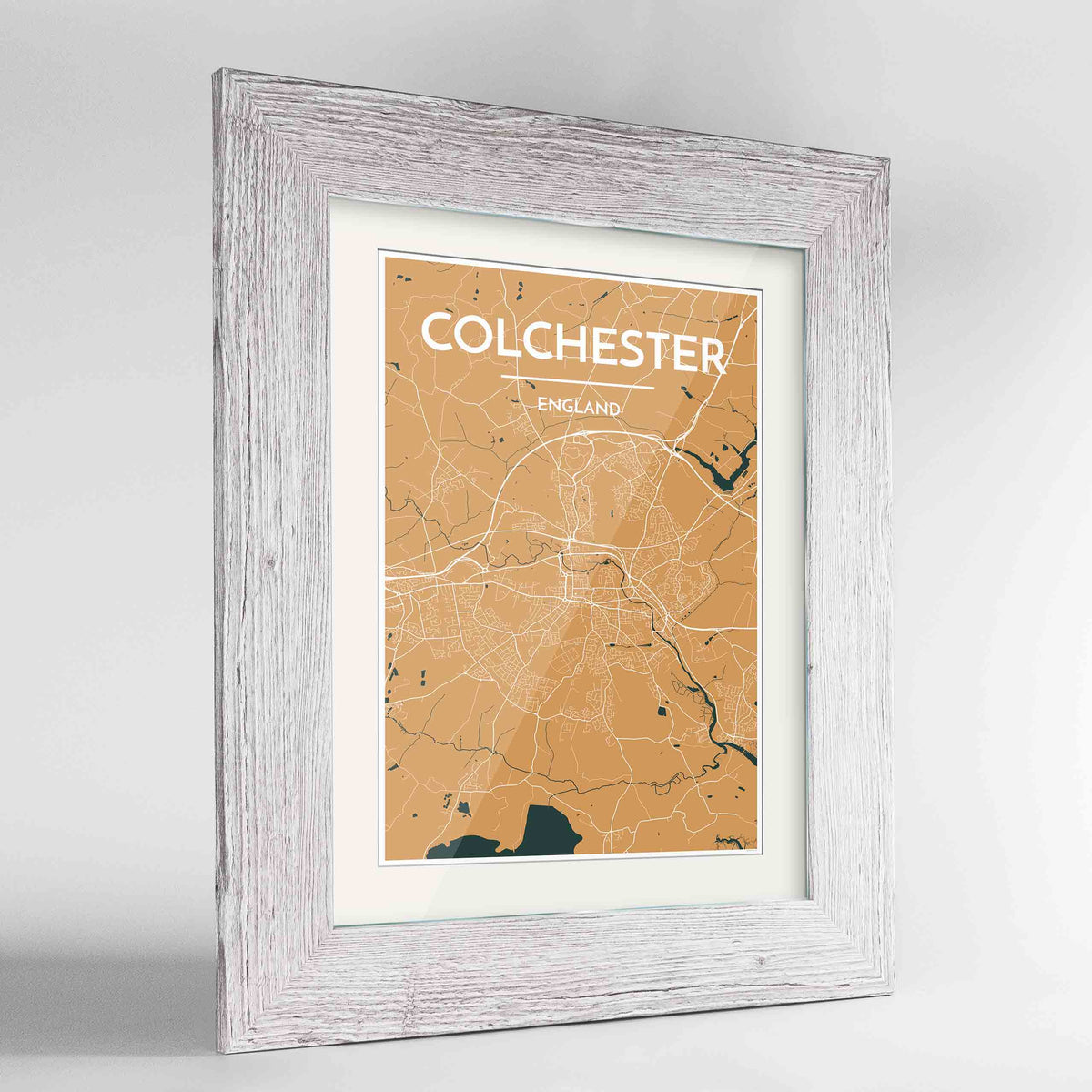 "Framed Colchester Map Art Print 24x36"" Western White frame Point Two Design Group"