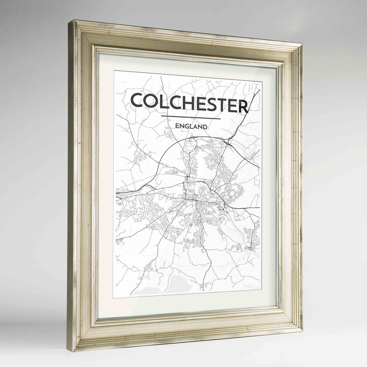 "Framed Colchester Map Art Print 24x36"" Champagne frame Point Two Design Group"