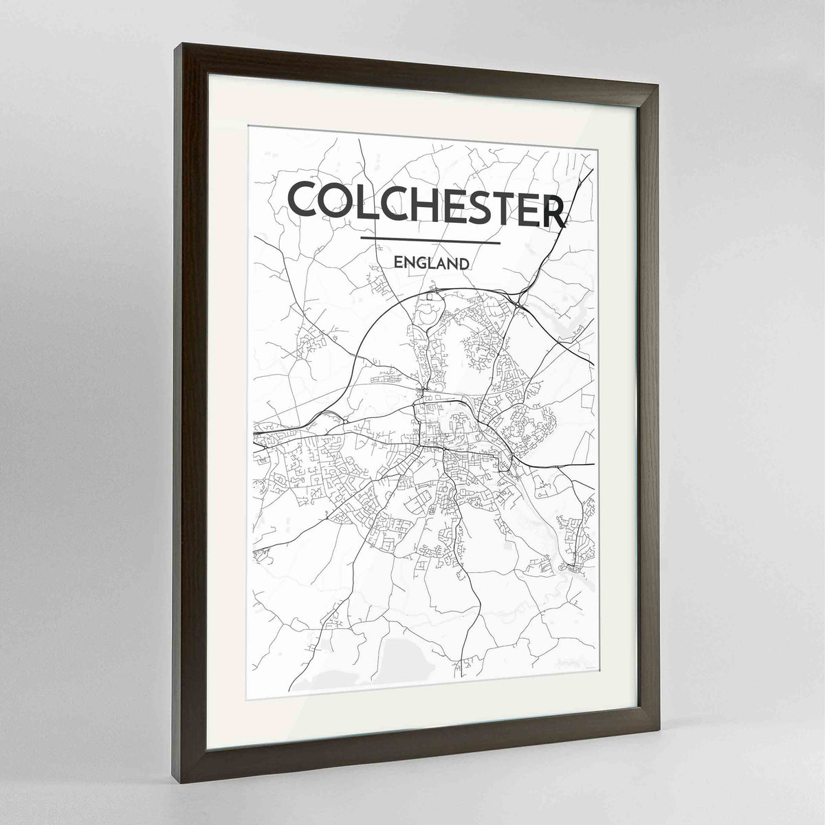 "Framed Colchester Map Art Print 24x36"" Contemporary Walnut frame Point Two Design Group"