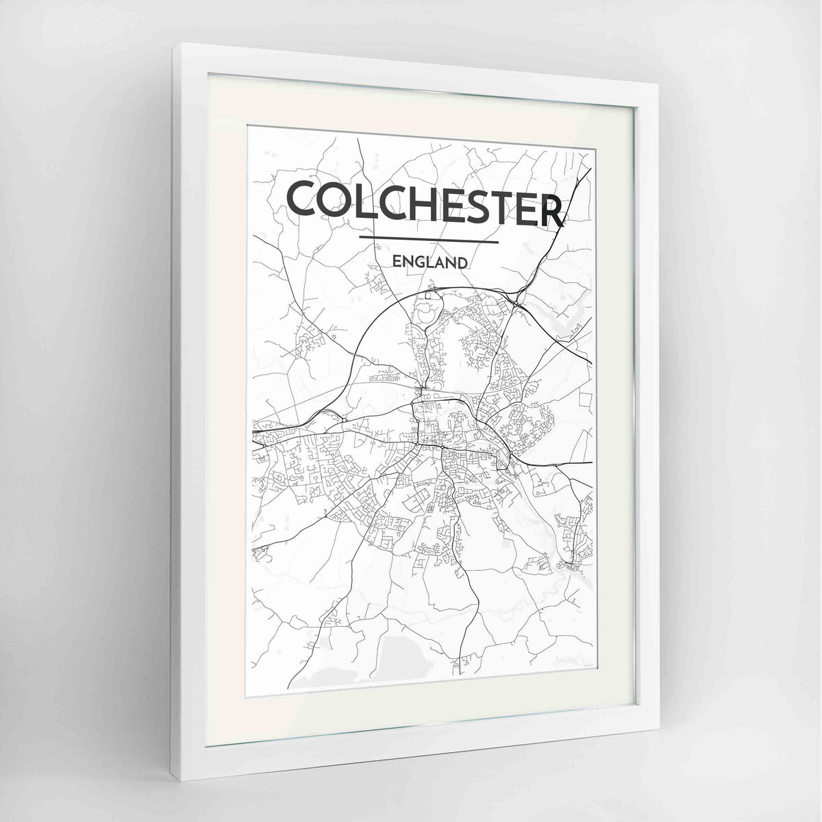 "Framed Colchester Map Art Print 24x36"" Contemporary White frame Point Two Design Group"