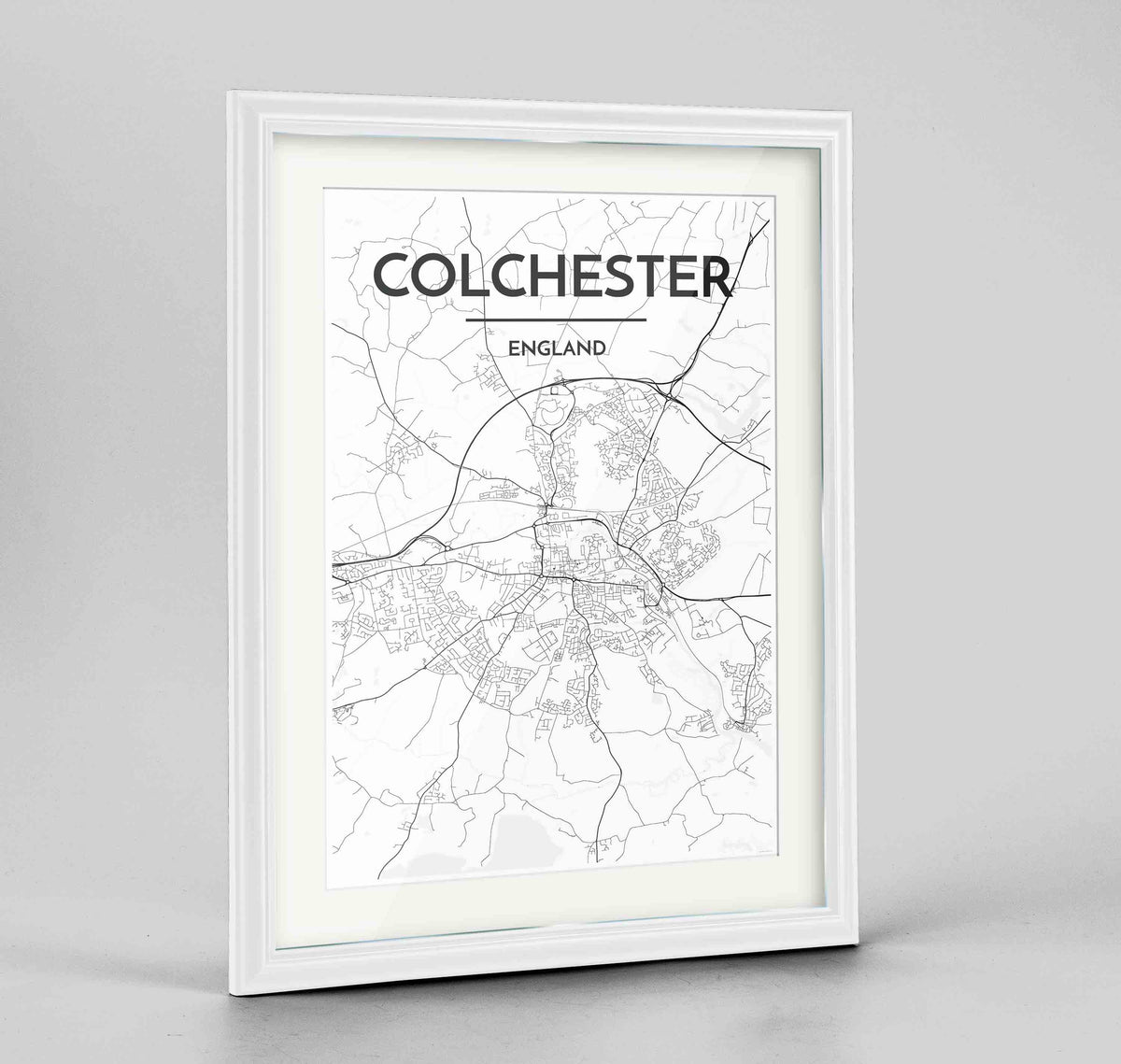 "Framed Colchester Map Art Print 24x36"" Traditional White frame Point Two Design Group"