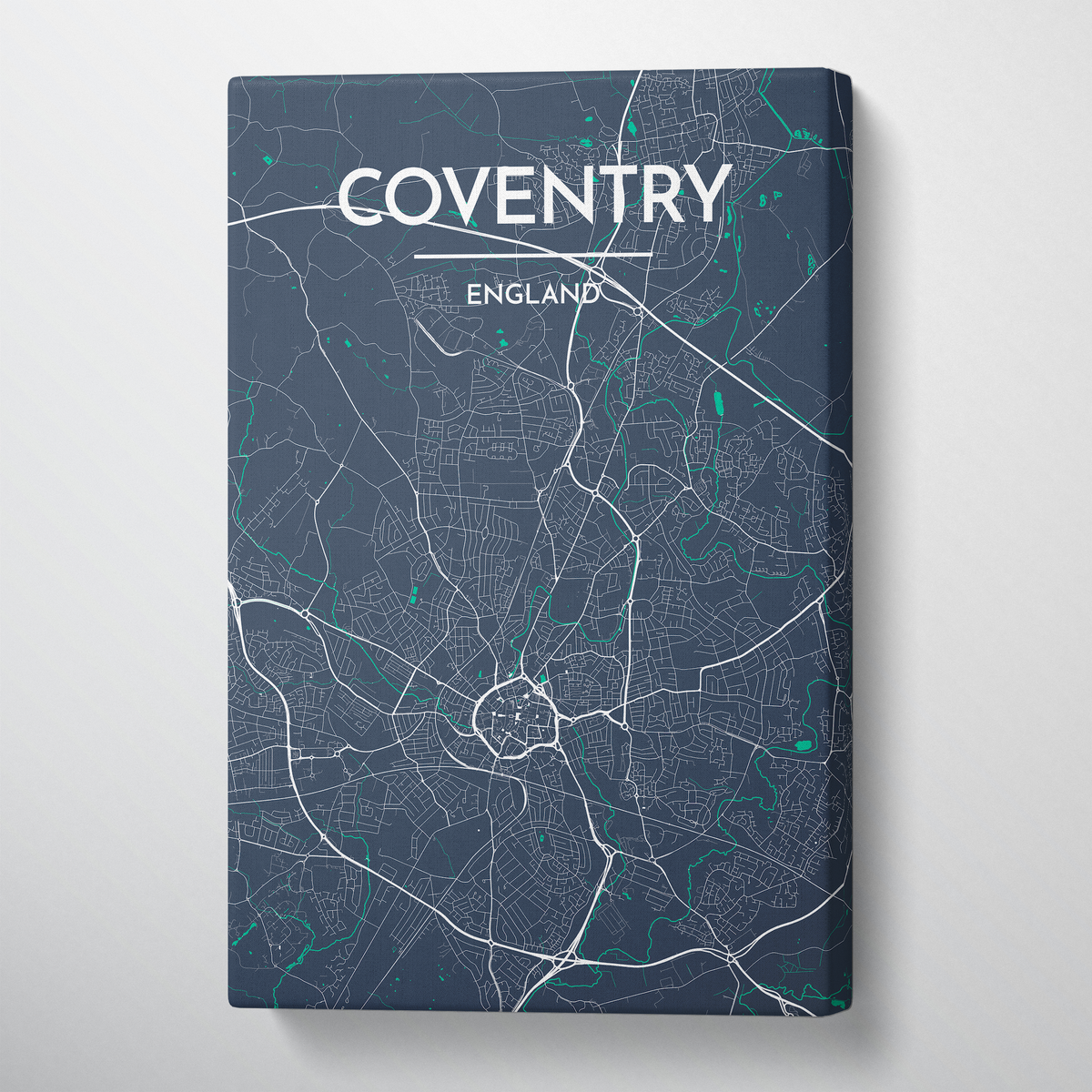 Coventry Map Canvas Wrap - Point Two Design