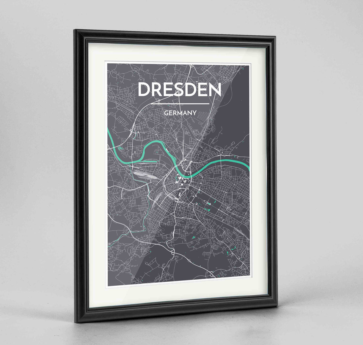 "Framed Dresden Map Art Print 24x36"" Traditional Black frame Point Two Design Group"