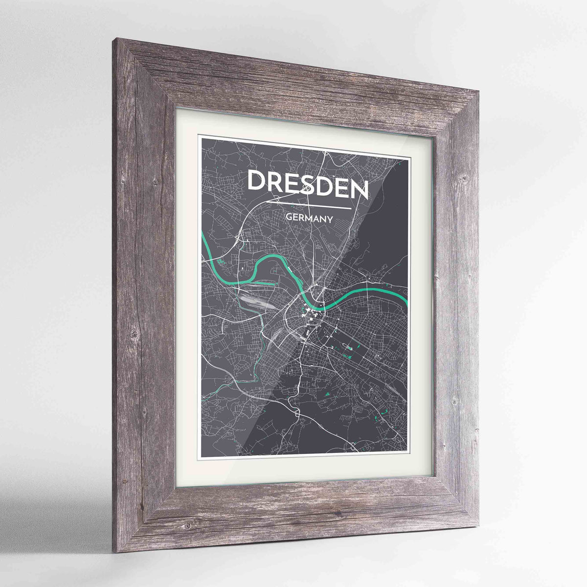 "Framed Dresden Map Art Print 24x36"" Western Grey frame Point Two Design Group"