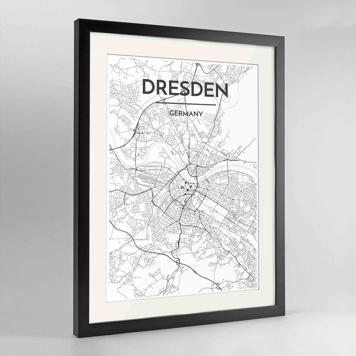 "Framed Dresden Map Art Print 24x36"" Contemporary Black frame Point Two Design Group"