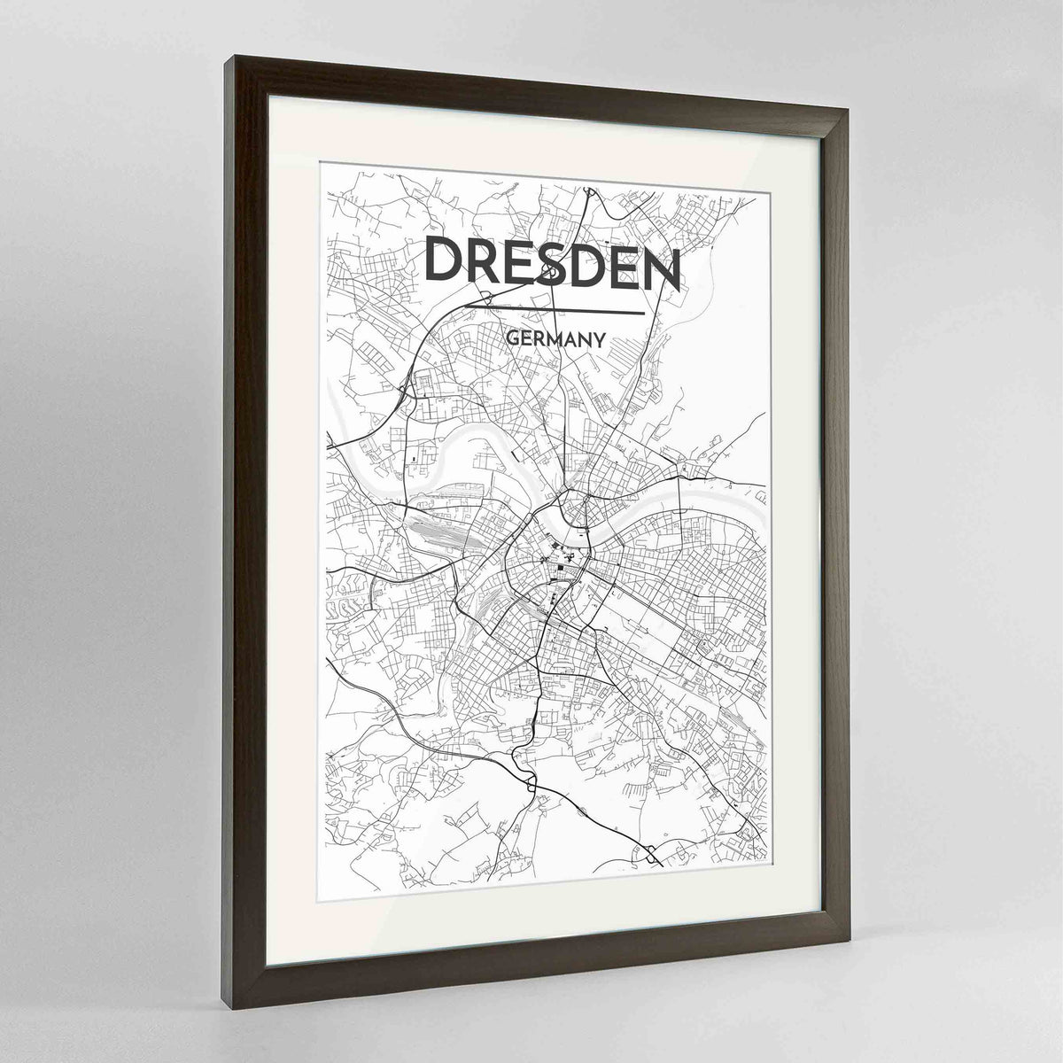 "Framed Dresden Map Art Print 24x36"" Contemporary Walnut frame Point Two Design Group"