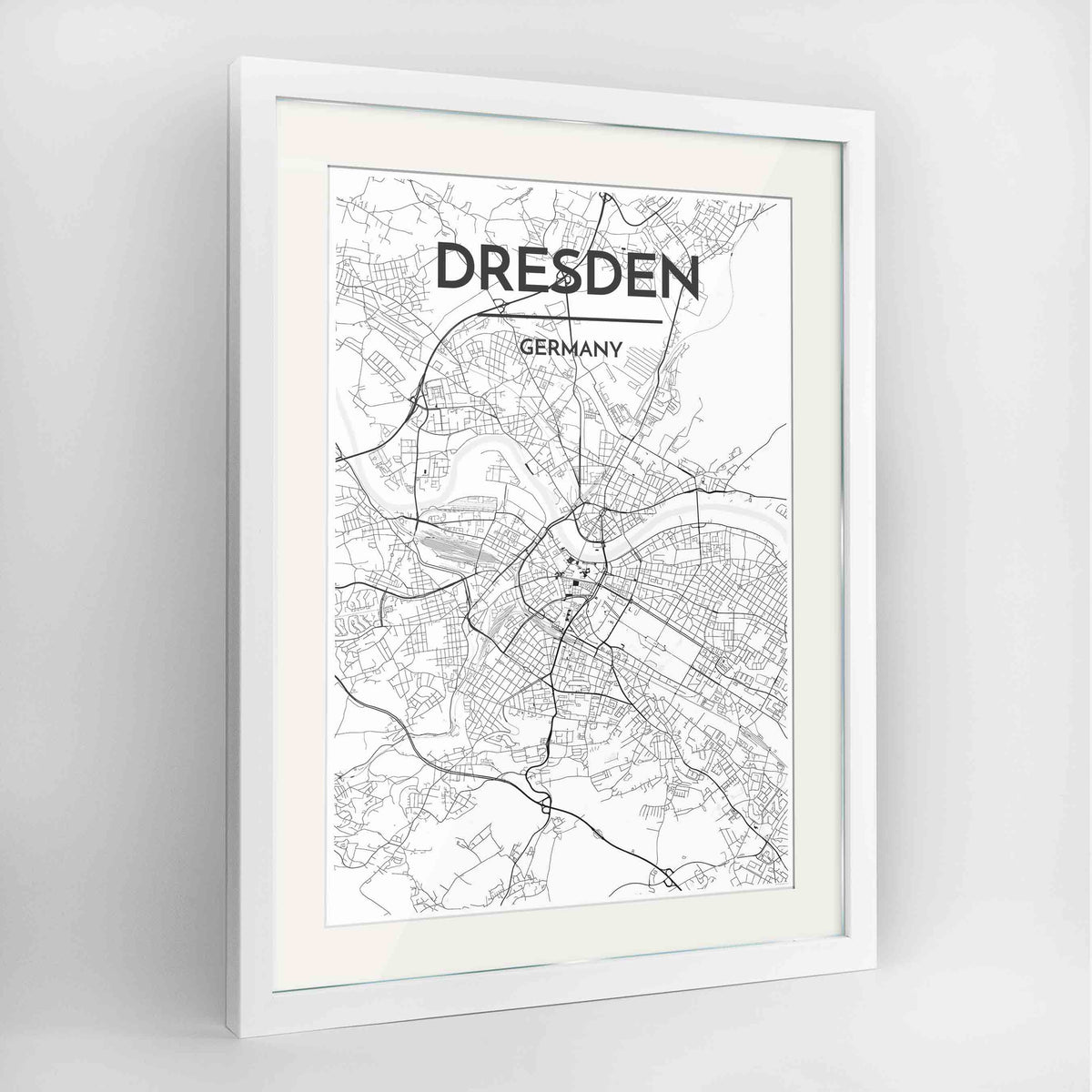 "Framed Dresden Map Art Print 24x36"" Contemporary White frame Point Two Design Group"