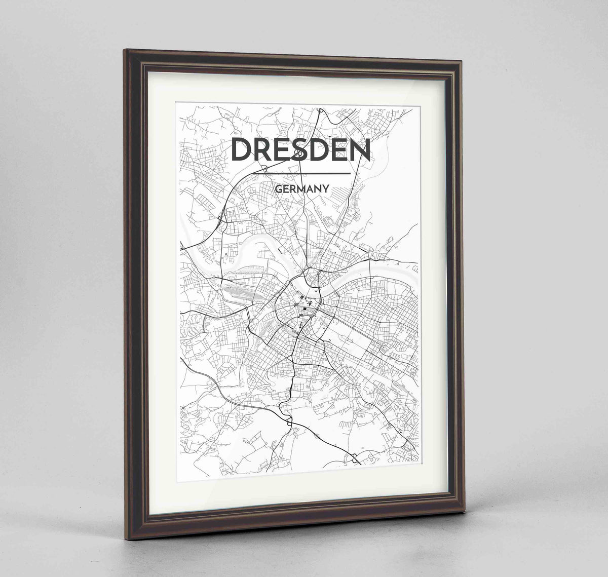 "Framed Dresden Map Art Print 24x36"" Traditional Walnut frame Point Two Design Group"