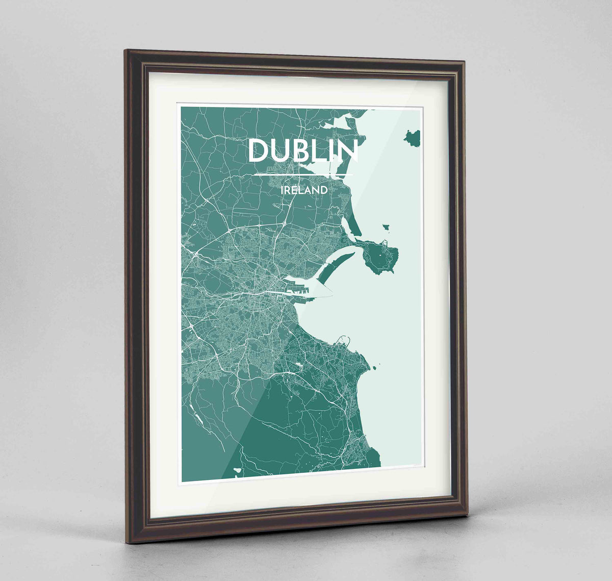 "Framed Dublin Map Art Print 24x36"" Traditional Walnut frame Point Two Design Group"