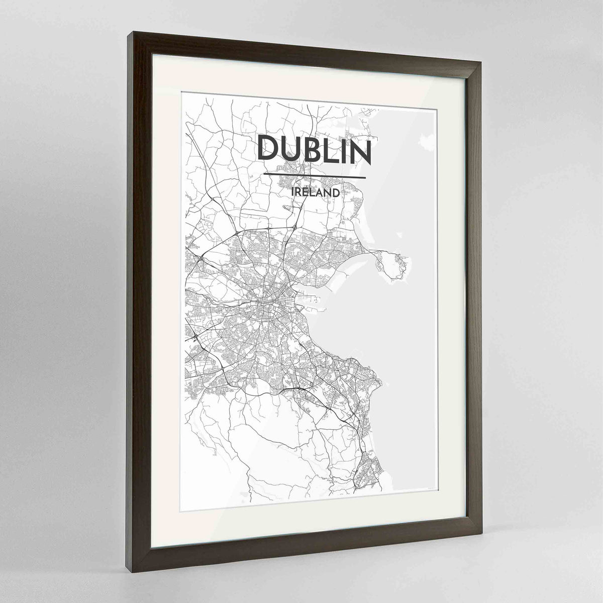 "Framed Dublin Map Art Print 24x36"" Contemporary Walnut frame Point Two Design Group"