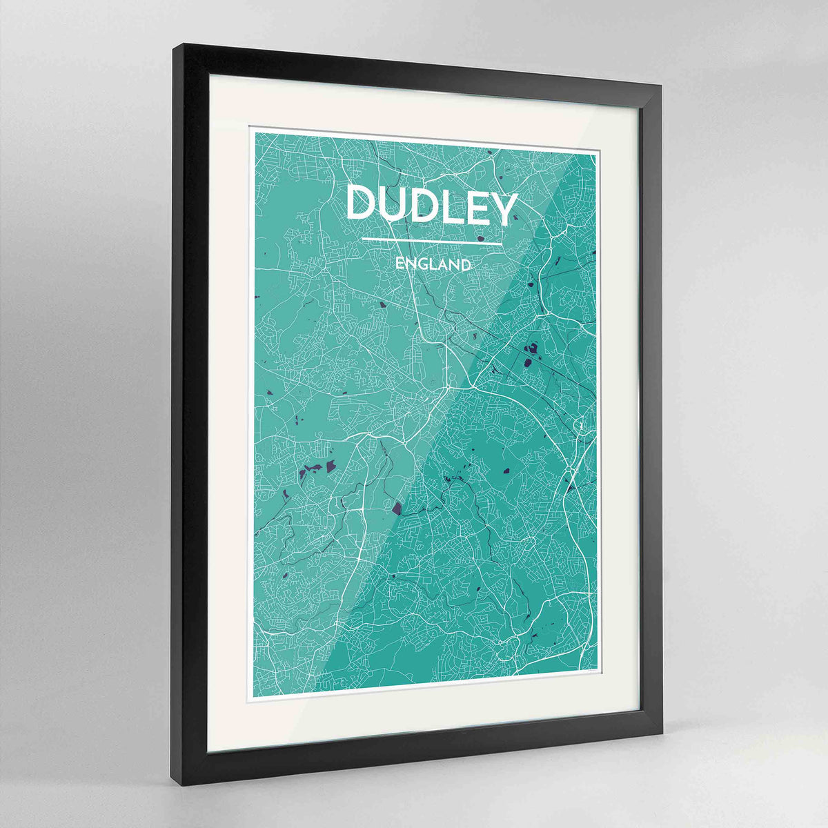 "Framed Dudley Map Art Print 24x36"" Contemporary Black frame Point Two Design Group"