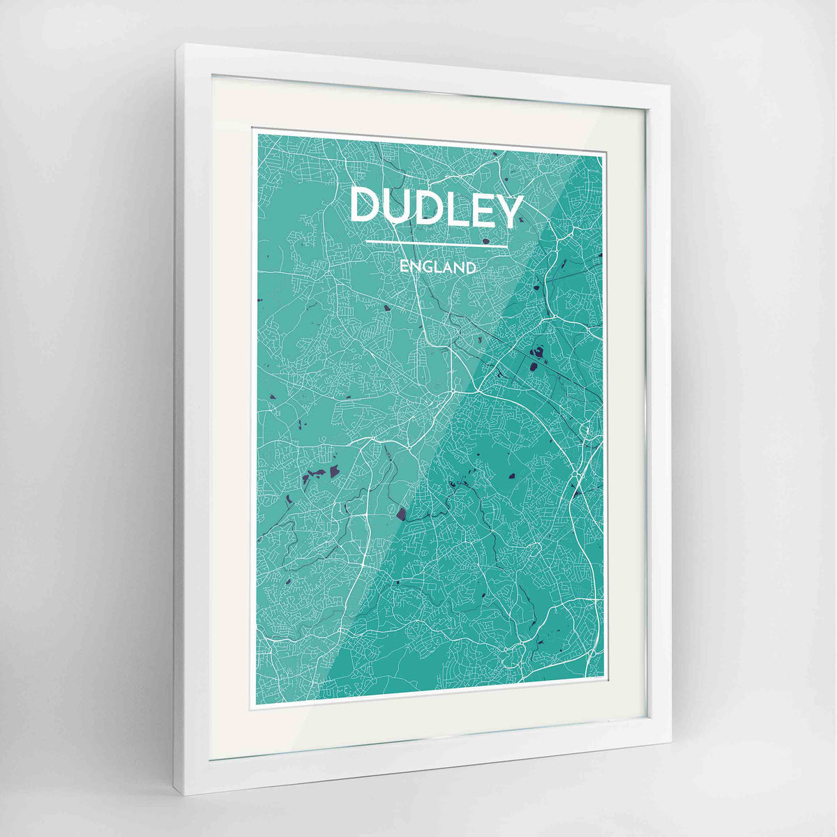 "Framed Dudley Map Art Print 24x36"" Contemporary White frame Point Two Design Group"
