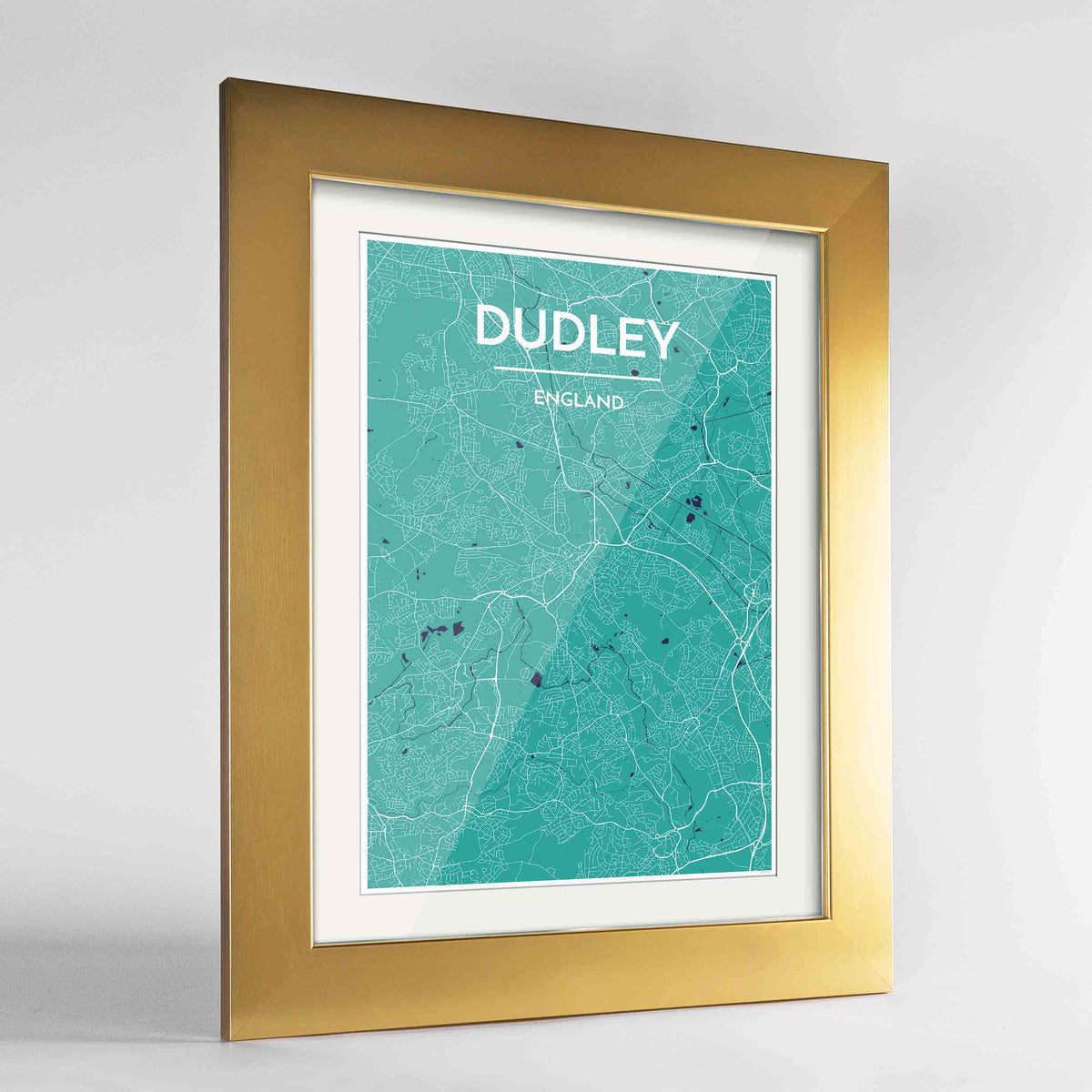 "Framed Dudley Map Art Print 24x36"" Gold frame Point Two Design Group"