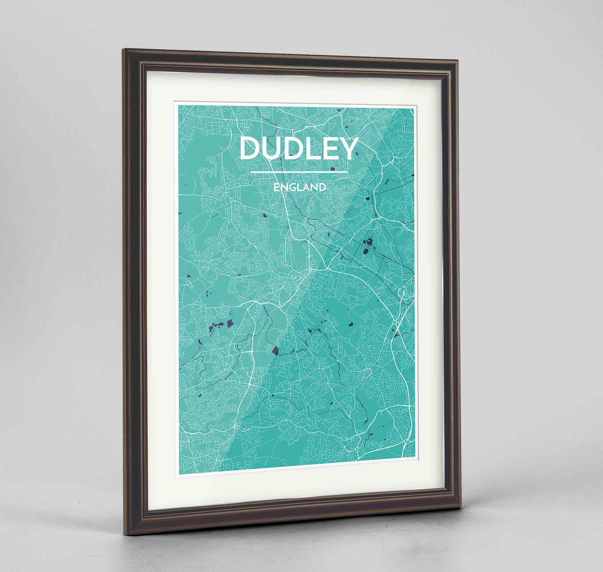 "Framed Dudley Map Art Print 24x36"" Traditional Walnut frame Point Two Design Group"