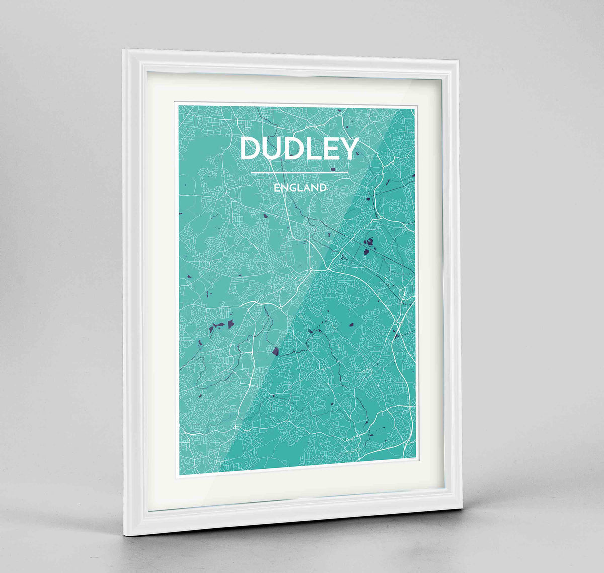 "Framed Dudley Map Art Print 24x36"" Traditional White frame Point Two Design Group"