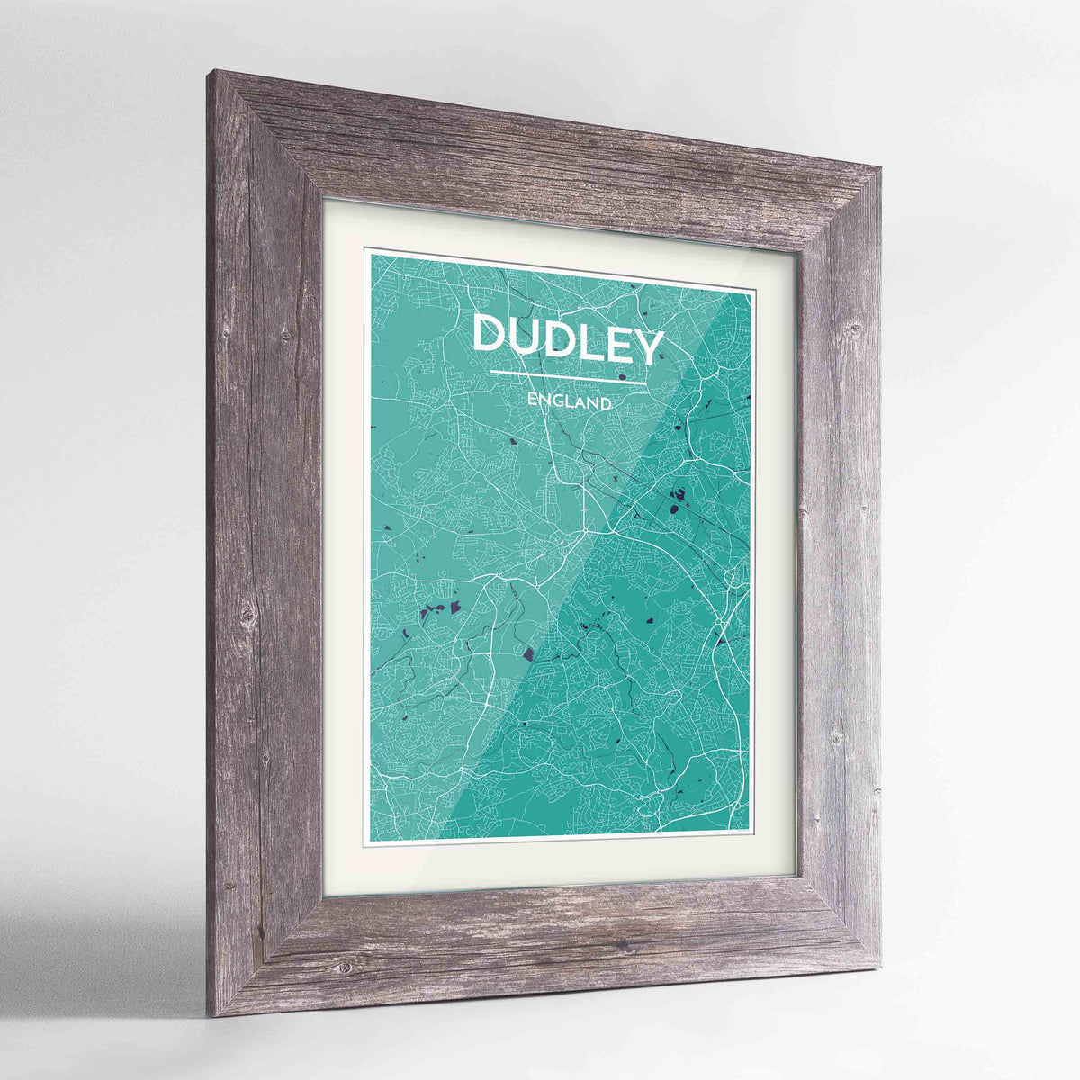 "Framed Dudley Map Art Print 24x36"" Western Grey frame Point Two Design Group"