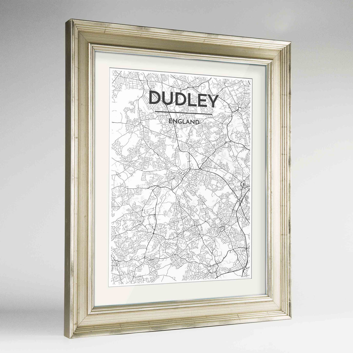 "Framed Dudley Map Art Print 24x36"" Champagne frame Point Two Design Group"
