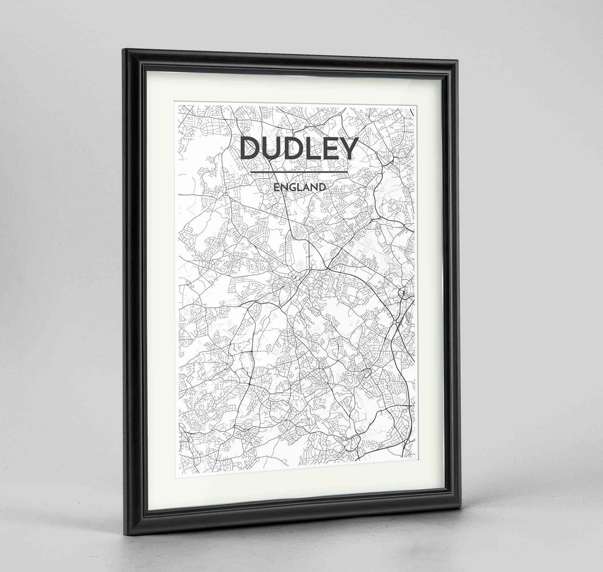 "Framed Dudley Map Art Print 24x36"" Traditional Black frame Point Two Design Group"
