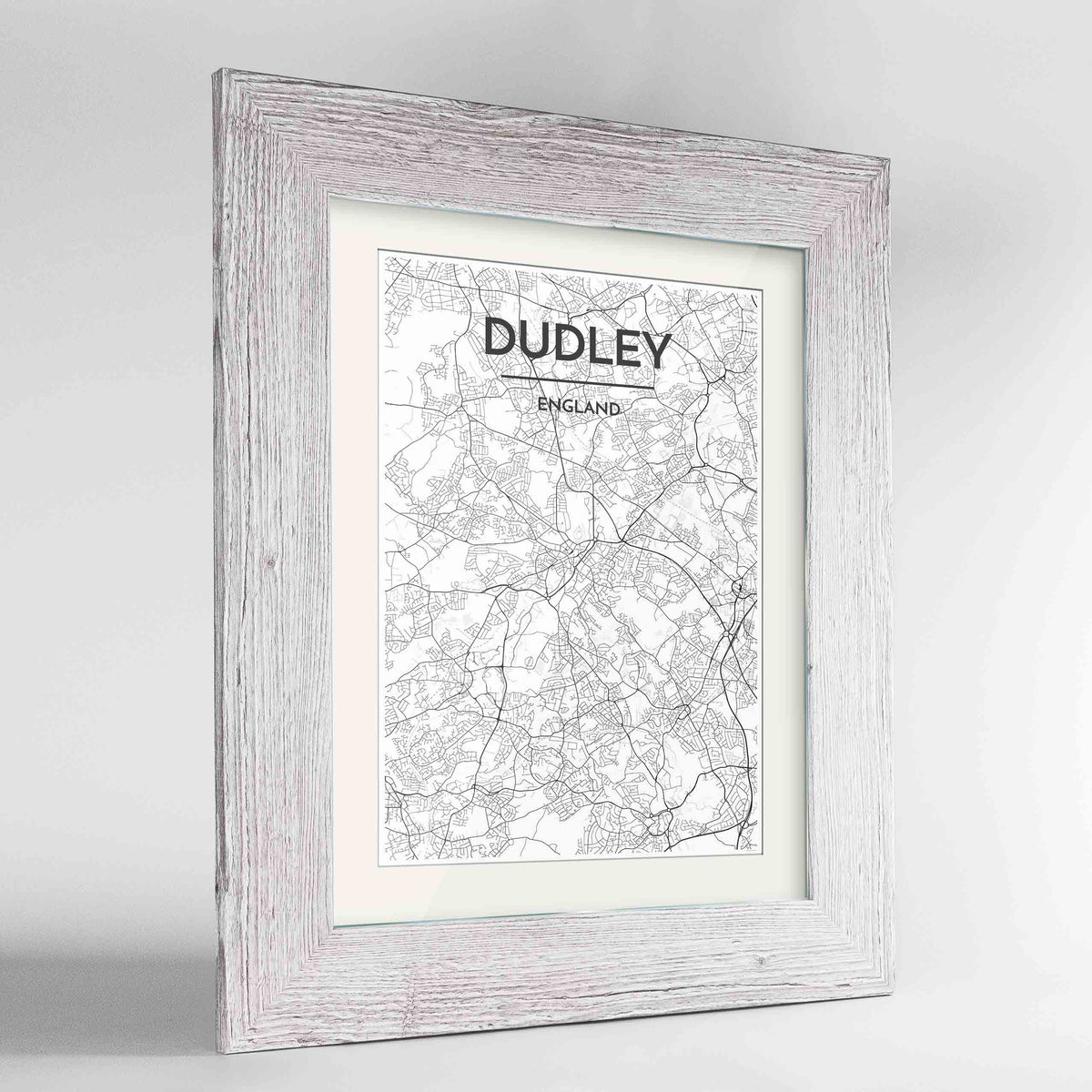 "Framed Dudley Map Art Print 24x36"" Western White frame Point Two Design Group"