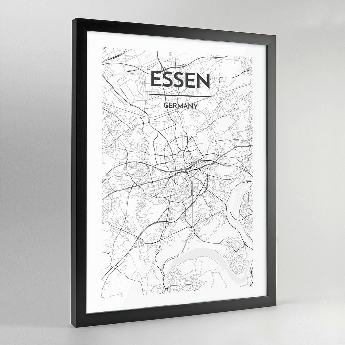 Essen Map Art Print - Framed