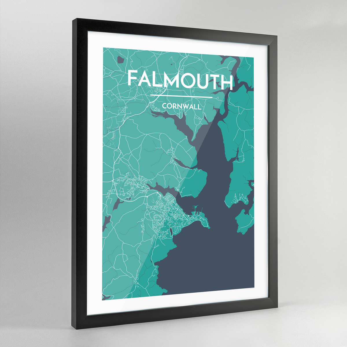 Framed Falmouth Map Art Print - Point Two Design