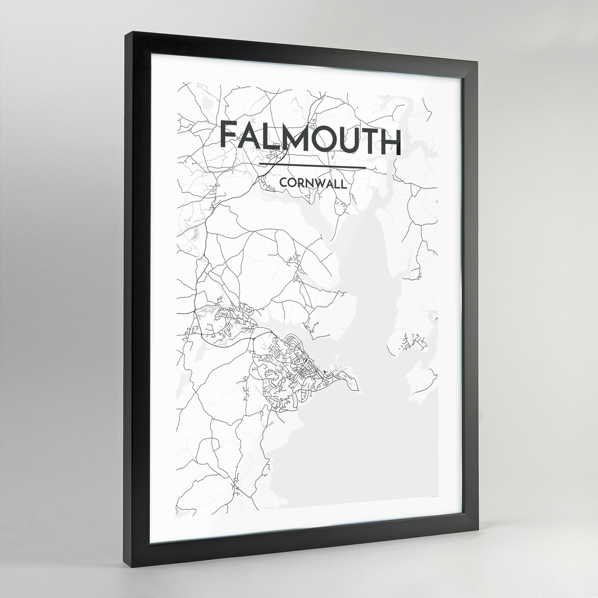 Falmouth Map Art Print - Framed
