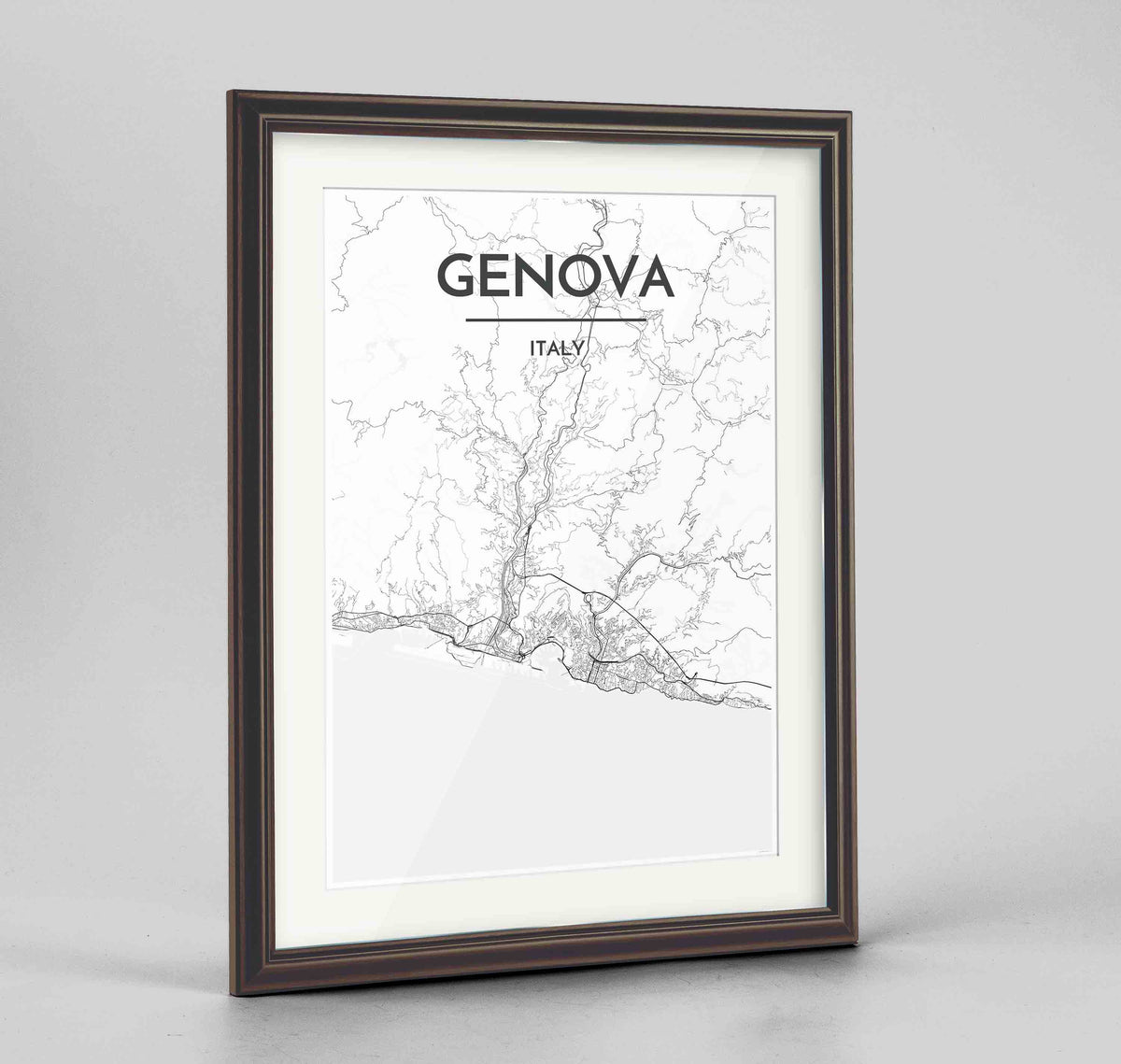 "Framed Genova Map Art Print 24x36"" Traditional Walnut frame Point Two Design Group"