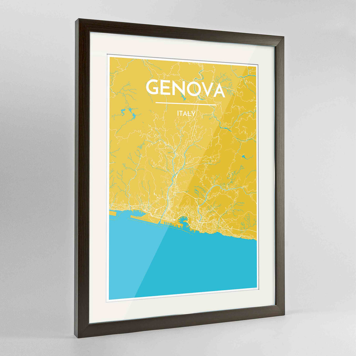"Framed Genova Map Art Print 24x36"" Contemporary Walnut frame Point Two Design Group"