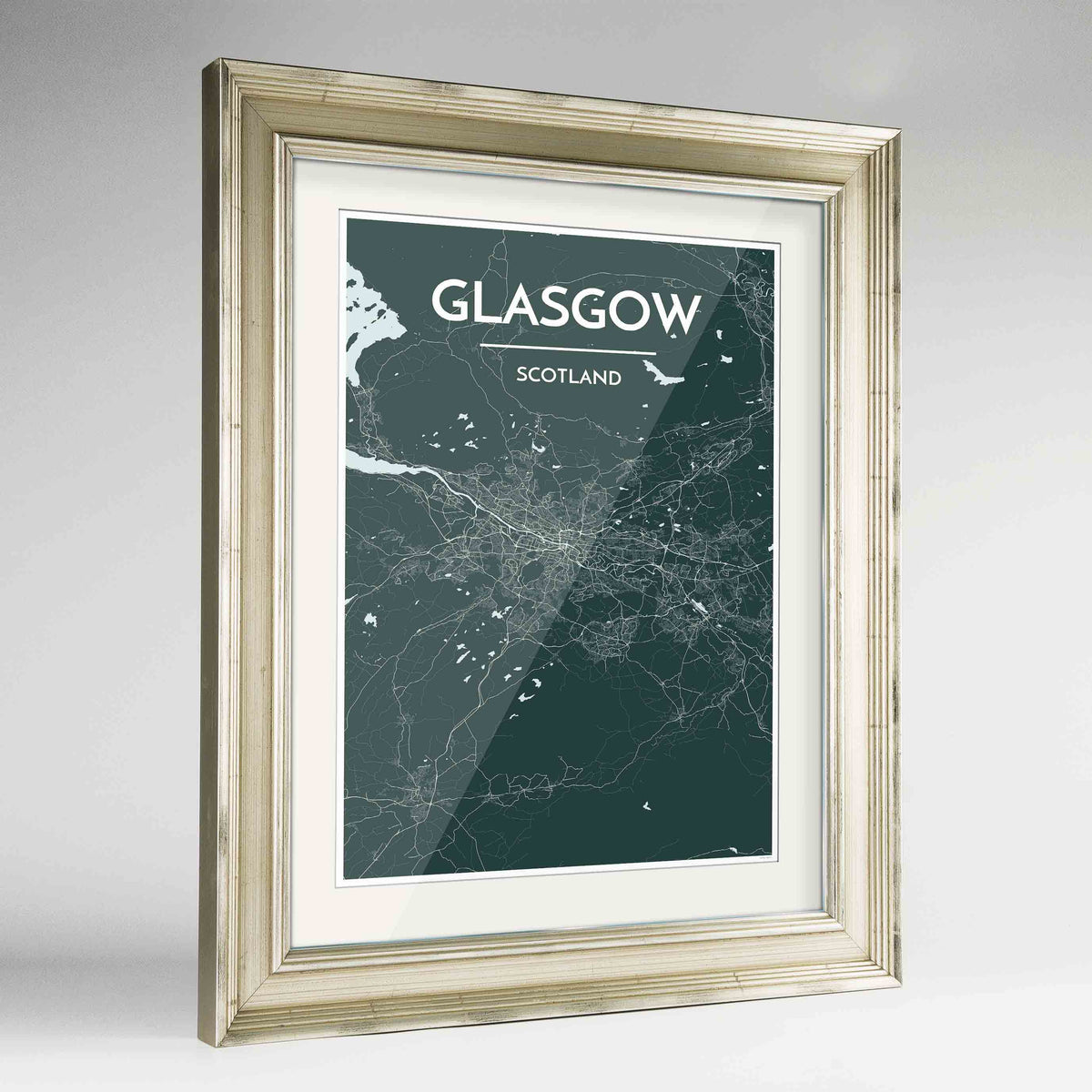 "Framed Glasgow Map Art Print 24x36"" Champagne frame Point Two Design Group"