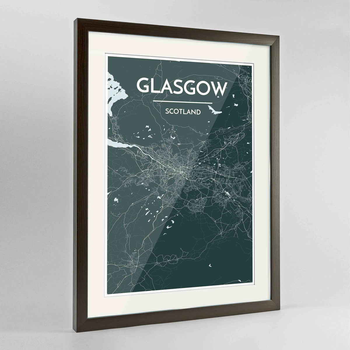 "Framed Glasgow Map Art Print 24x36"" Contemporary Walnut frame Point Two Design Group"