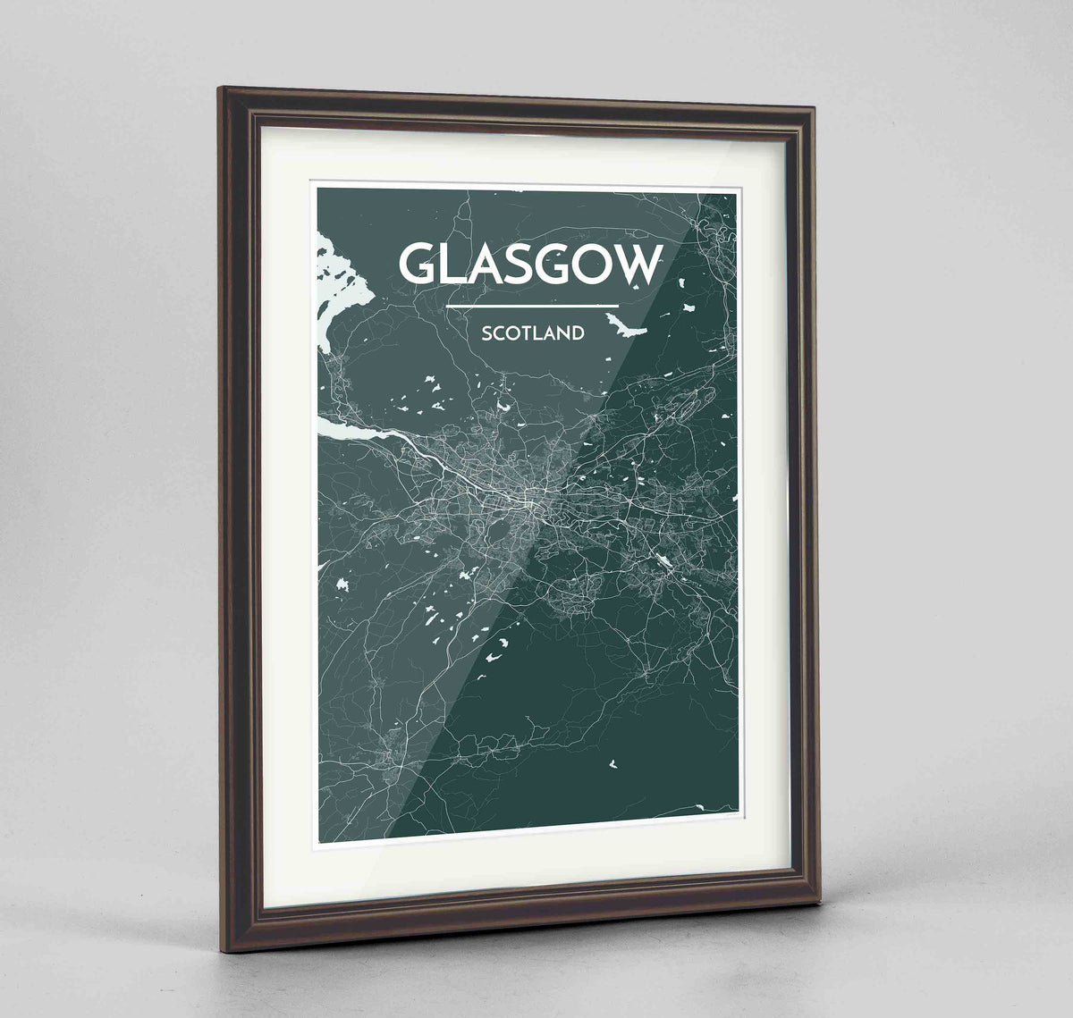 "Framed Glasgow Map Art Print 24x36"" Traditional Walnut frame Point Two Design Group"