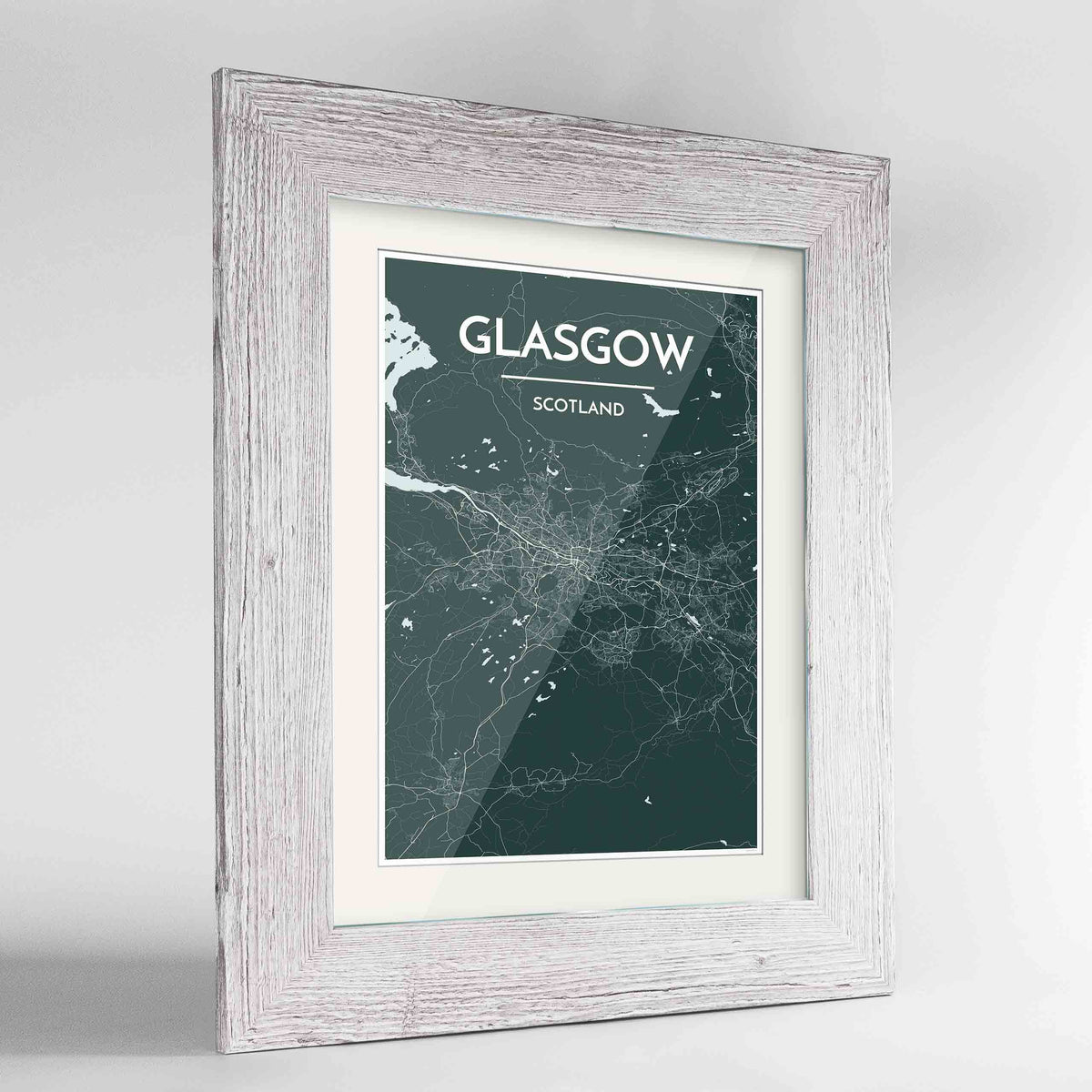 "Framed Glasgow Map Art Print 24x36"" Western White frame Point Two Design Group"