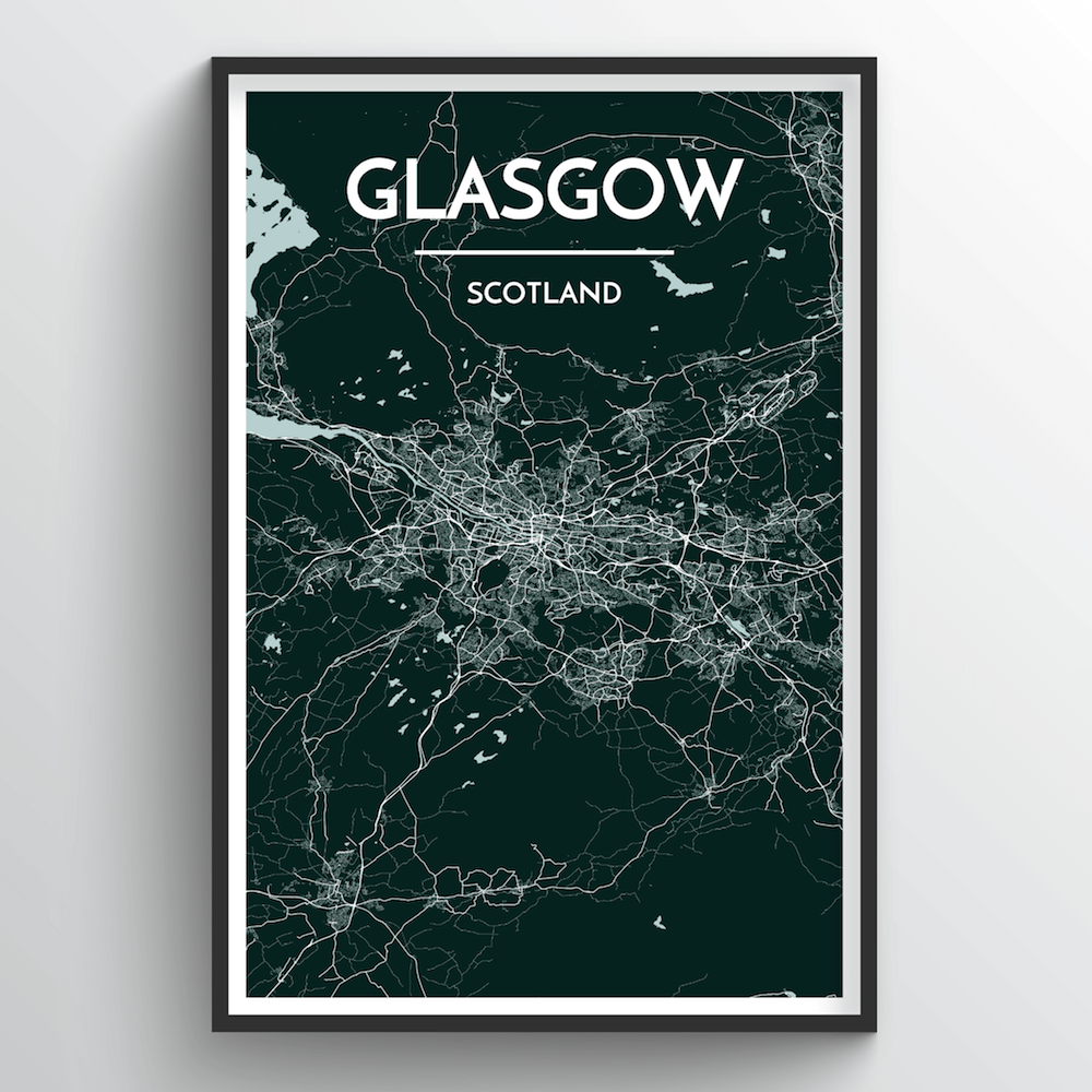 Glasgow City Map Art Print - Point Two Design