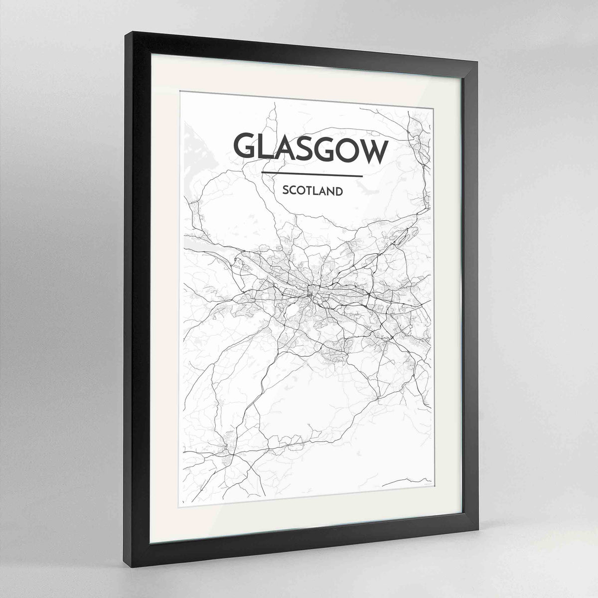 "Framed Glasgow Map Art Print 24x36"" Contemporary Black frame Point Two Design Group"
