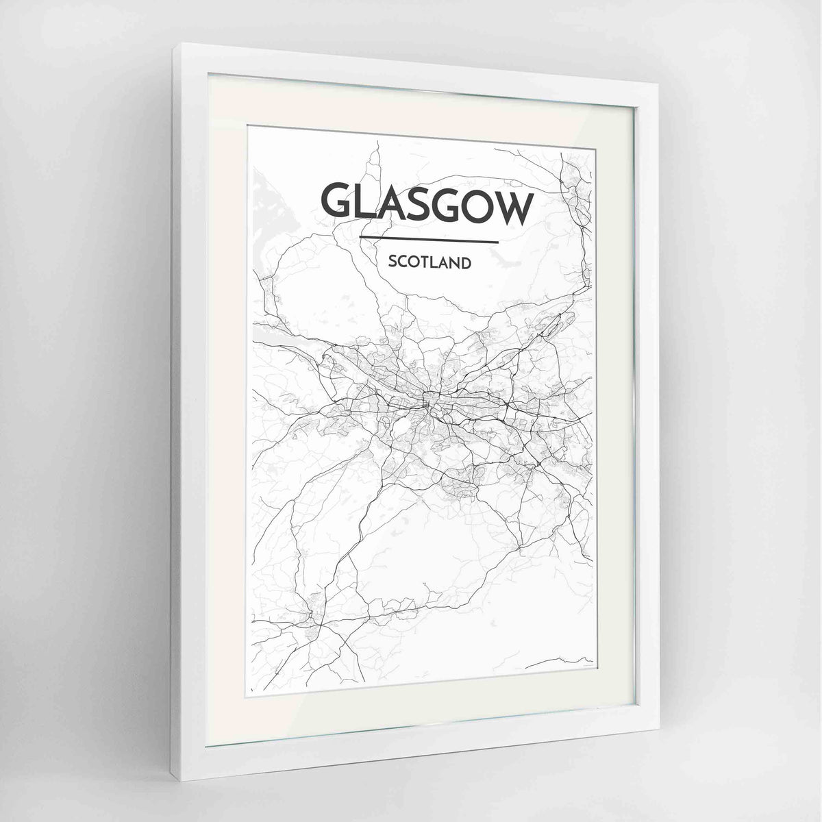 "Framed Glasgow Map Art Print 24x36"" Contemporary White frame Point Two Design Group"