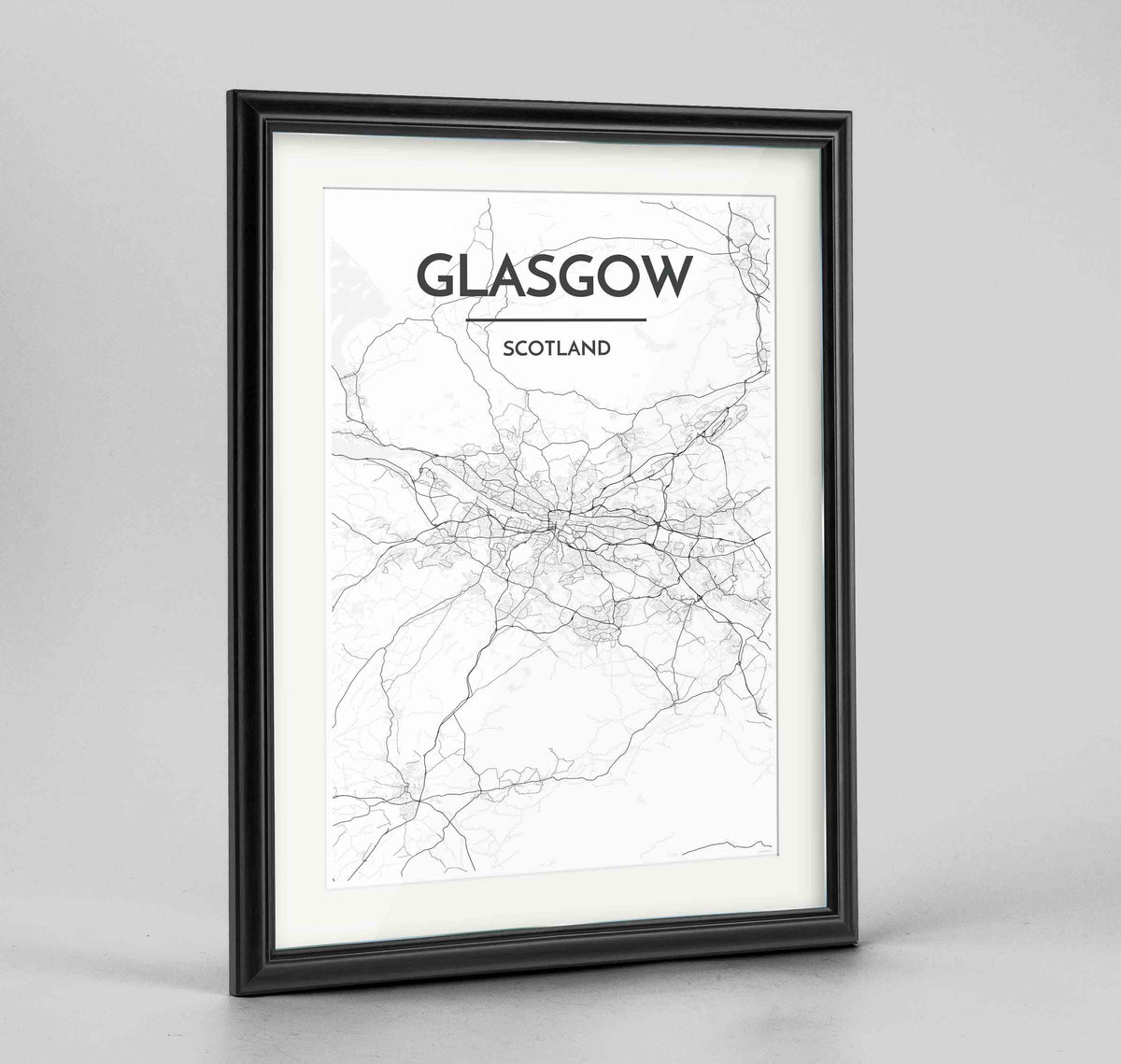 "Framed Glasgow Map Art Print 24x36"" Traditional Black frame Point Two Design Group"