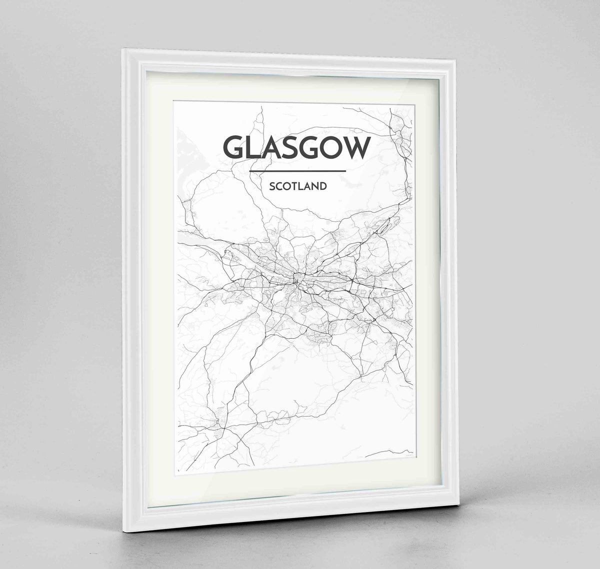 "Framed Glasgow Map Art Print 24x36"" Traditional White frame Point Two Design Group"