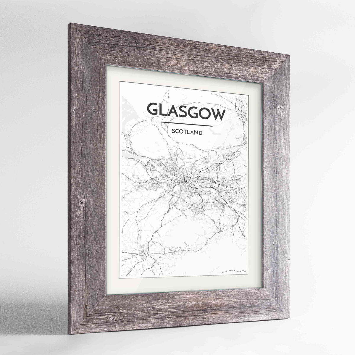 "Framed Glasgow Map Art Print 24x36"" Western Grey frame Point Two Design Group"