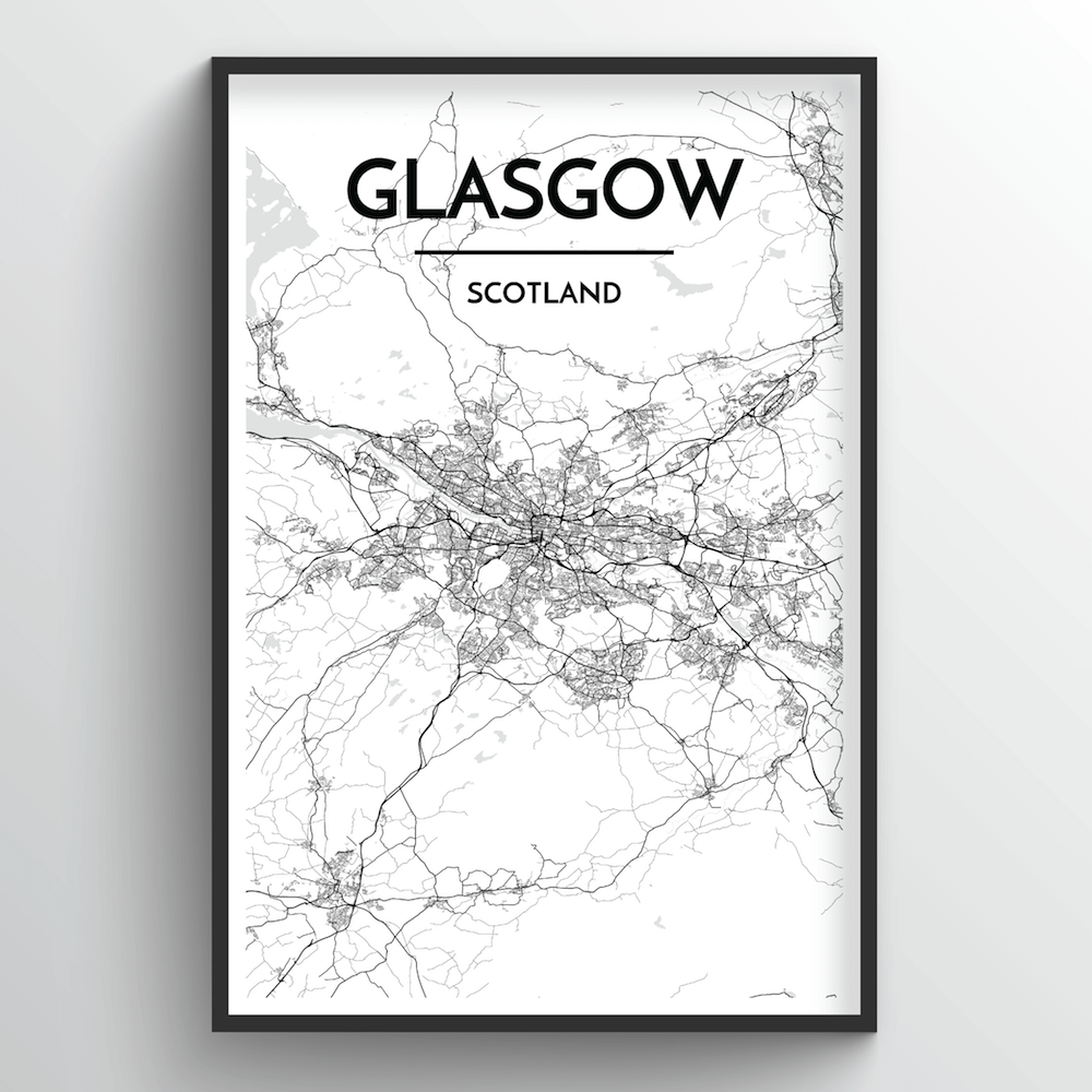 Glasgow Map Art Print - Point Two Design