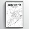 Glouchester City Map Art Print - Point Two Design