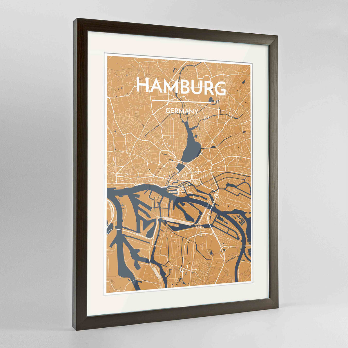 "Framed Hamburg Map Art Print 24x36"" Contemporary Walnut frame Point Two Design Group"